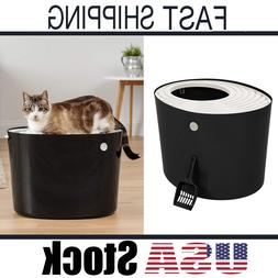 New IRIS Top Entry Cat Kitty Litter Box Black And White Larg