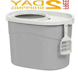 New IRIS Top Entry Cat Kitty Litter Box Gray White Large Cat