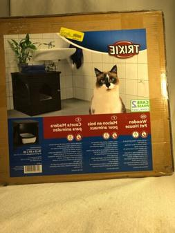 New Trixie Wooden Pet House Litter Box 19x20x20 Espresso Wit