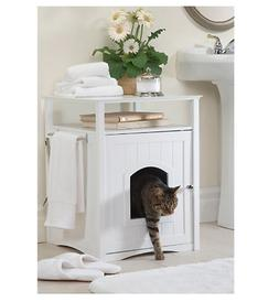 NEW White Wood Hidden Cat Litter Box Discrete Kitty Containe