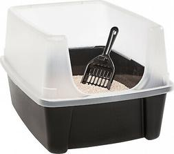 IRIS Open Top Cat Litter Box Kit with Shield and Scoop, Blac