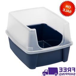 IRIS USA Open-Top Cat Litter Box With Shield, Regular, Navy,