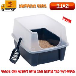 Open-Top Cat Litter Box with Shield and Scoop, Navy, Easy Cl