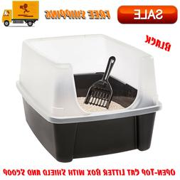 Open-Top Cat Litter Box with Shield and Scoop, Black, Easy C