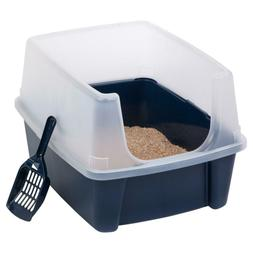 IRIS USA Open-Top Cat Litter Box with Shield and Scoop, Navy