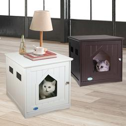 Pet Cat Hidden Litter Box Furniture Nightstand End Table Enc