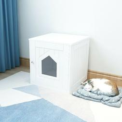 Pet Cat Hidden Litter Box House Nightstand Side End Table w/