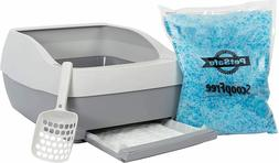 Pet Cat Litter Box with Crystal Litter Reduced Odor With Lit