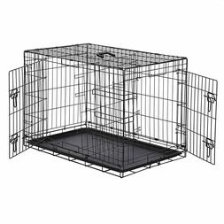 Pet Kennel Cat Dog 2Door w/Divide w/Tray Folding Steel Crate