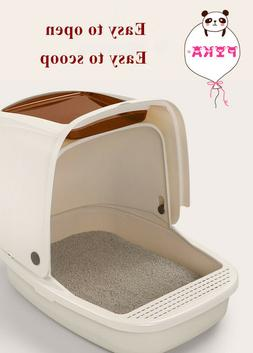 Portable Hooded Cat Toilet Litter Box Tray House With Scoop