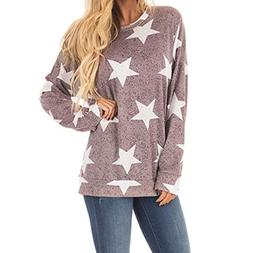 Ladies Print Star Long Sleeve Sweatshirt Pullover Blouse