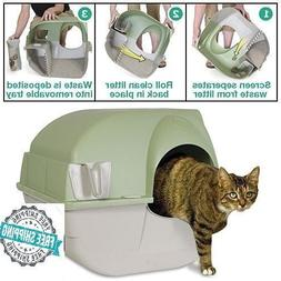 Omega Paw Self Cleaning Cat Litter Box Roll Kitty Pewter Sco