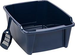 IRIS High Sided Open Litter Pan with Scoop, Blue