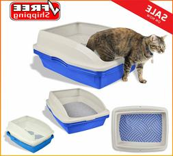 Sifting Cat Litter Box Large 3 Part Pet Cleaning Jumbo Tray