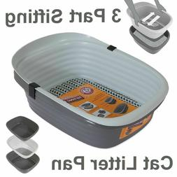 sifting cat litter pan large 3 part