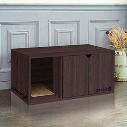 SKROUTZ Enclosed Cat Litter Box Furniture Espresso Color Mad