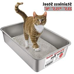 Yangbaga Stainless Steel Litter Box for Cat and Rabbit, Odor