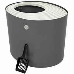 Standard Litter Boxes IRIS Top Entry Cat With Scoop, Dark Gr