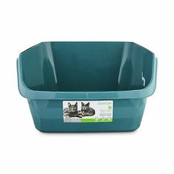 So Phresh Teal Scatter Shield High-Back Litter Box for Cat,