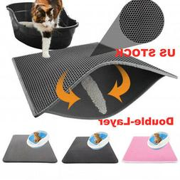 US Double-Layer Cat Litter Box Mat Trapper Foldable Pad Pet