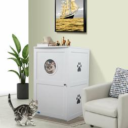 White 2-Tier Cat litter box House Kitty Pets Nightstand Encl