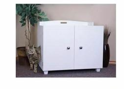 White Bench Hidden Kitty Litter Box Enclosure Cat House Disc