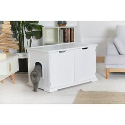 White Litter Box Enclosed Bench Cat Kitty Pet Indoor Covered