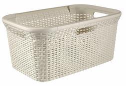 - Curver Style Rectangle Laundry Basket, Plastic, White, 45
