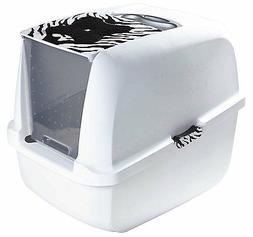 Catit WHITE TIGER CAT LITTER PAN Two-Way Plastic Door for Mu
