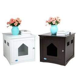 Wooden Pet Cat House Litter Box Cat Washroom Nightstand Cat